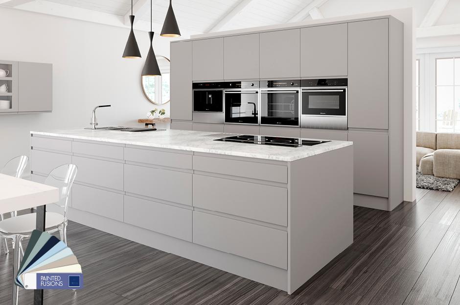 White Gloss Kitchens And Gray Oak Worktops